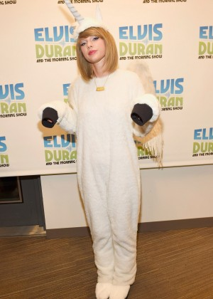 "Taylor Swift at ""The Elvis Duran Z100 Morning Show"" dressed up as a Pegacorn in New York City"