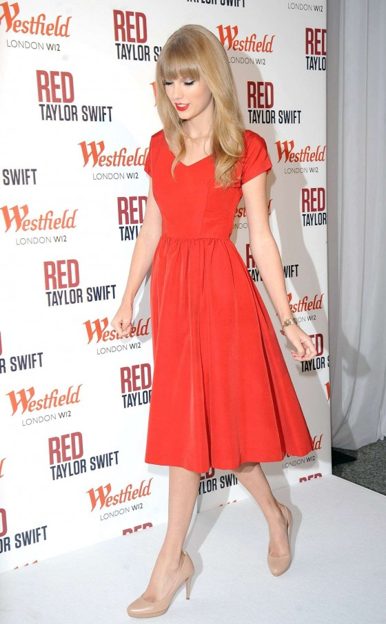 Taylor Swift - In red dress at Westfield Shopping Centre, London