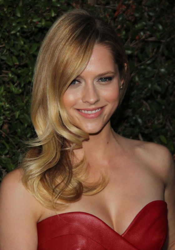Teresa Palmer cleavage and legs in tight small dress at Valentino Rodeo Drive Flagship Opening