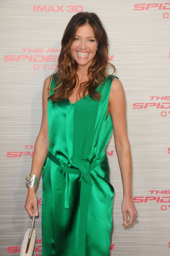 Tricia Helfer – in a green dress at The Amazing Spider Man Premiere-03