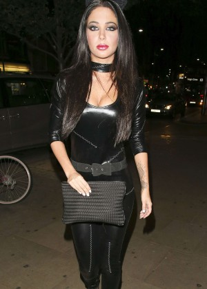 Tulisa Contostavlos in Leather Catsuit at Bodo's Schloss in Kensington