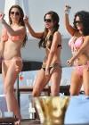 Tulisa Contostavlos in a black and gold zebra bikini in Marbella -13
