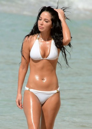 Tulisa Contostavlos in White Bikini on the Beach in Barbados adds