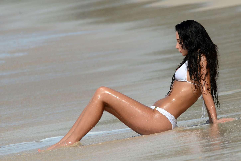 Tulisa Contostavlos in White Bikini on the Beach in Barbados