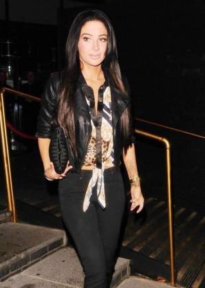 Tulisa Contostavlos in Tights Leaving The Gilgamesh Nightclub in Camden