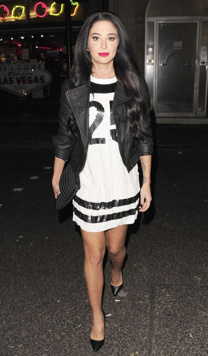 Tulisa Contostavlos in Short Dress at Freedom Bar in Soho