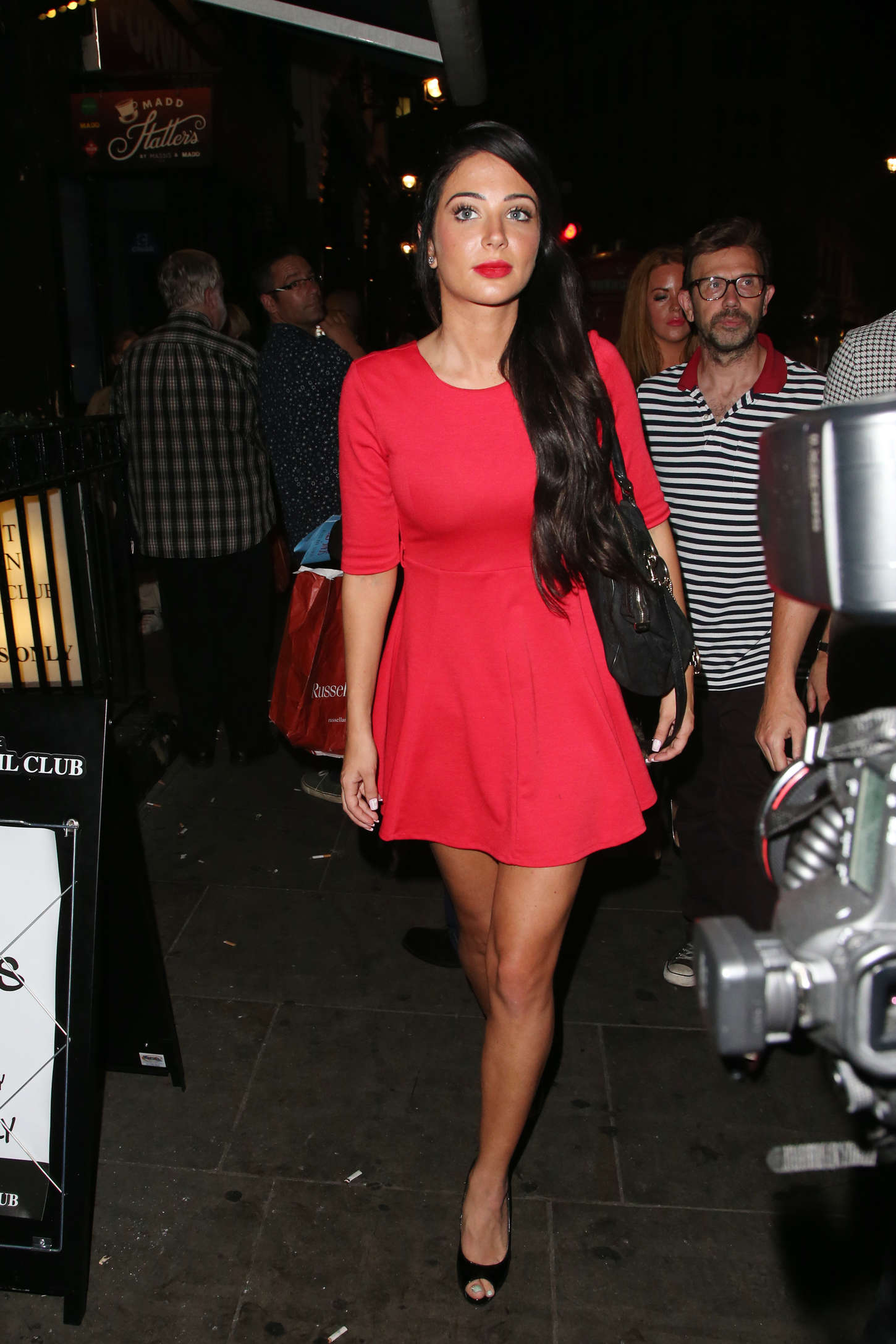 Tulisa Contostavlos in Red Mini Dress Out in London