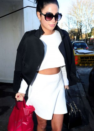 Tulisa Contostavlos in White Mini Skirt out in London