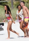 Tulisa Contostavlos in floral Swimsuit on the beach in Miami-01