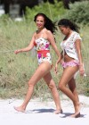 Tulisa Contostavlos in floral Swimsuit on the beach in Miami-02