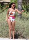 Tulisa Contostavlos in floral Swimsuit on the beach in Miami-08