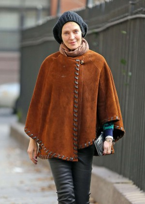 Uma Thurman in Poncho out in New York City