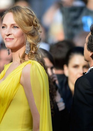 Uma Thurman In Yellow Dress at Cannes 2014-01