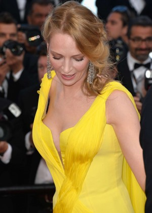 Uma Thurman In Yellow Dress at Cannes 2014-04