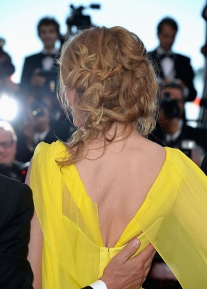 Uma Thurman In Yellow Dress at Cannes 2014-05
