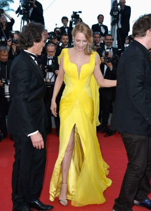 Uma Thurman In Yellow Dress at Cannes 2014-06