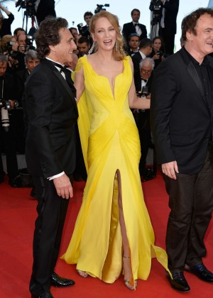 Uma Thurman In Yellow Dress at Cannes 2014-07