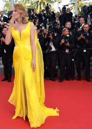 Uma Thurman In Yellow Dress at Cannes 2014-08
