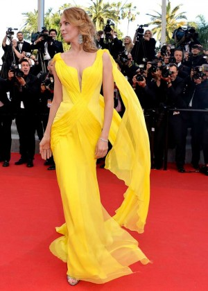 Uma Thurman In Yellow Dress at Cannes 2014-09