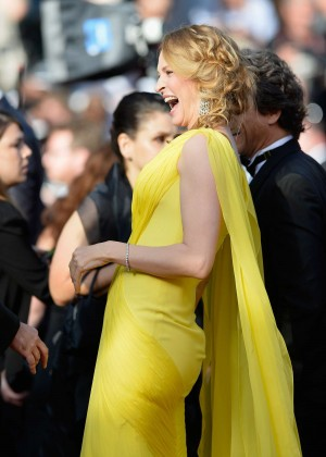 Uma Thurman In Yellow Dress at Cannes 2014-10