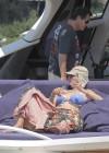 Uma Thurman in blue bikini on a yacht in St Tropez -07