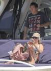Uma Thurman in blue bikini on a yacht in St Tropez -10