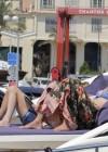 Uma Thurman in blue bikini on a yacht in St Tropez -11