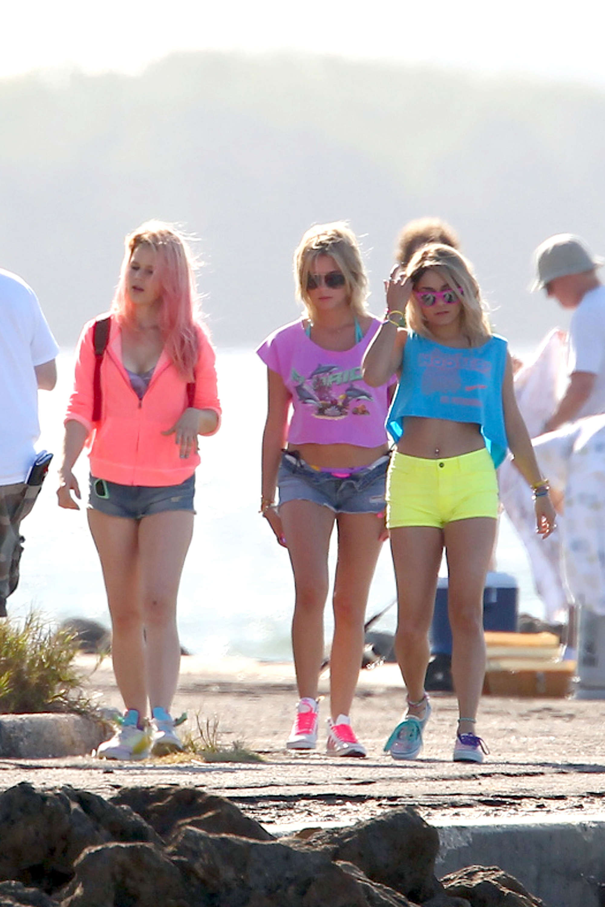 Vanessa Hudgens 2012 : Vanessa Hudgens and Ashley Benson Filming Spring Breakers-02