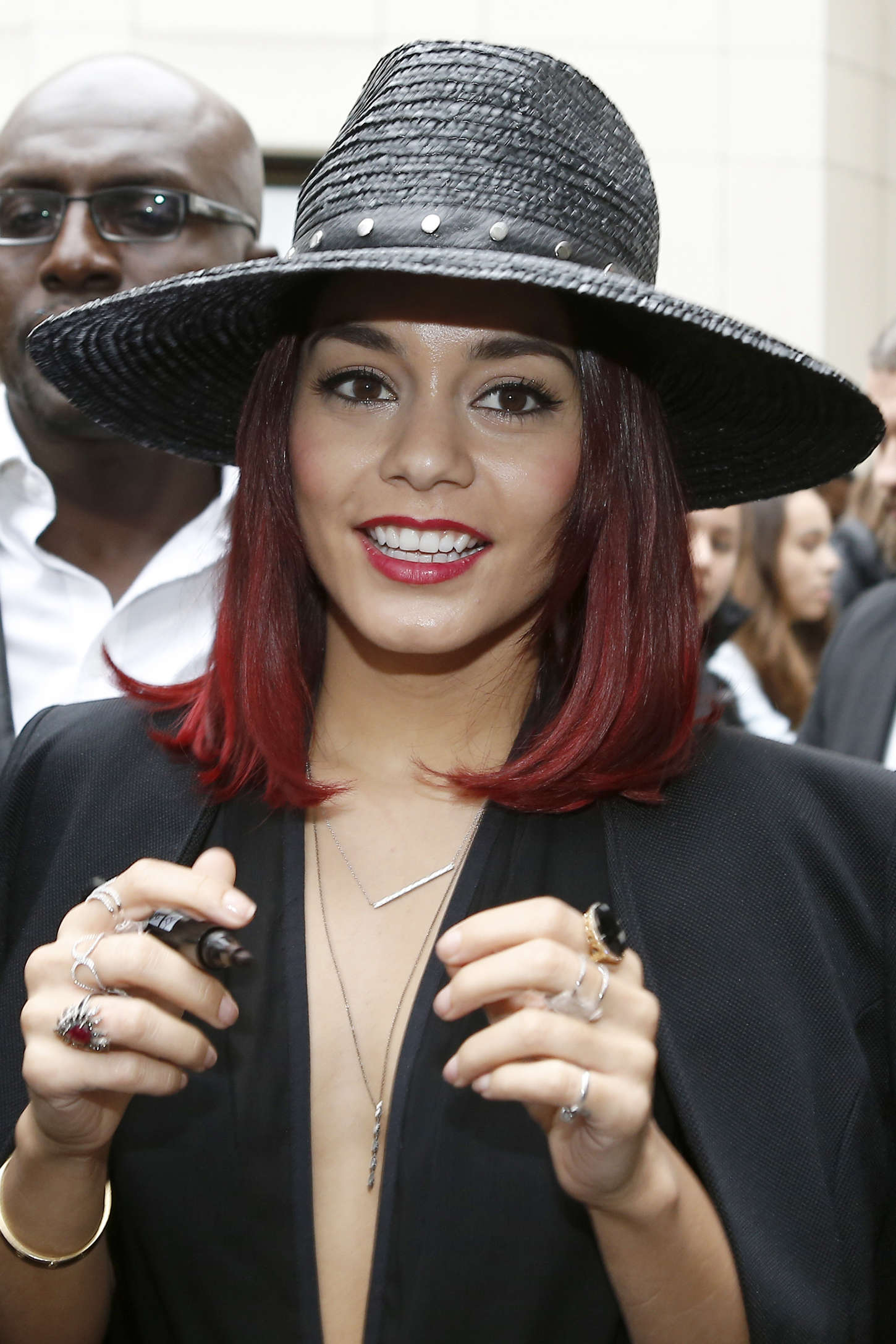 Vanessa Hudgens - greets fans as she heads into Fan2 in Paris