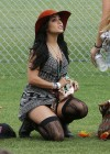Vanessa Hudgens In a short dress and stockings at Coachella Music Festival - April 2012