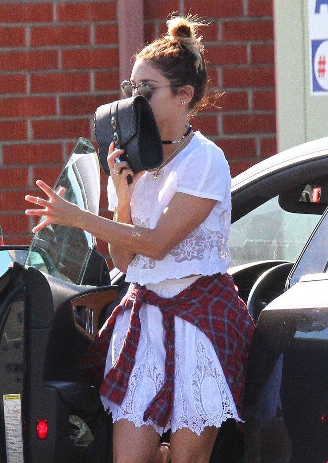 Vanessa Hudgens in White Mini Dress at Acupuncture Clinic in LA
