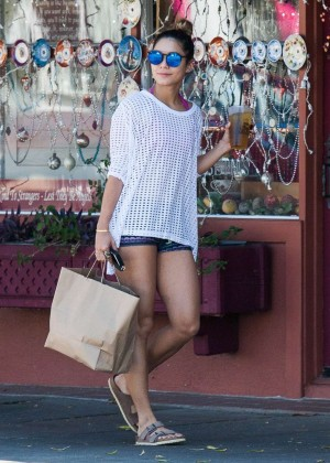 Vanessa Hudgens in Shorts at Furniture Store in Studio City