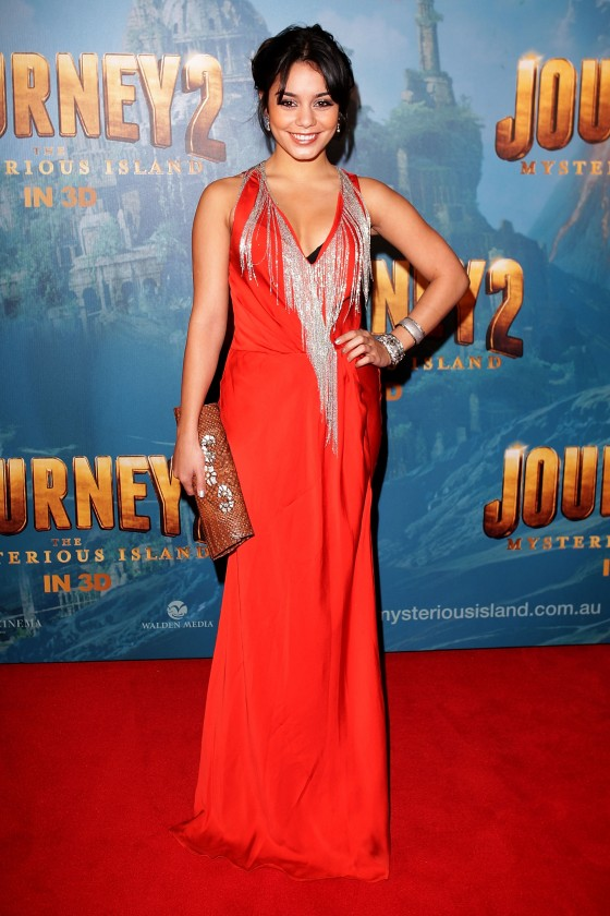 Vanessa Hudgens cleavy in red dress at Journey 2 Mysterious Island ...