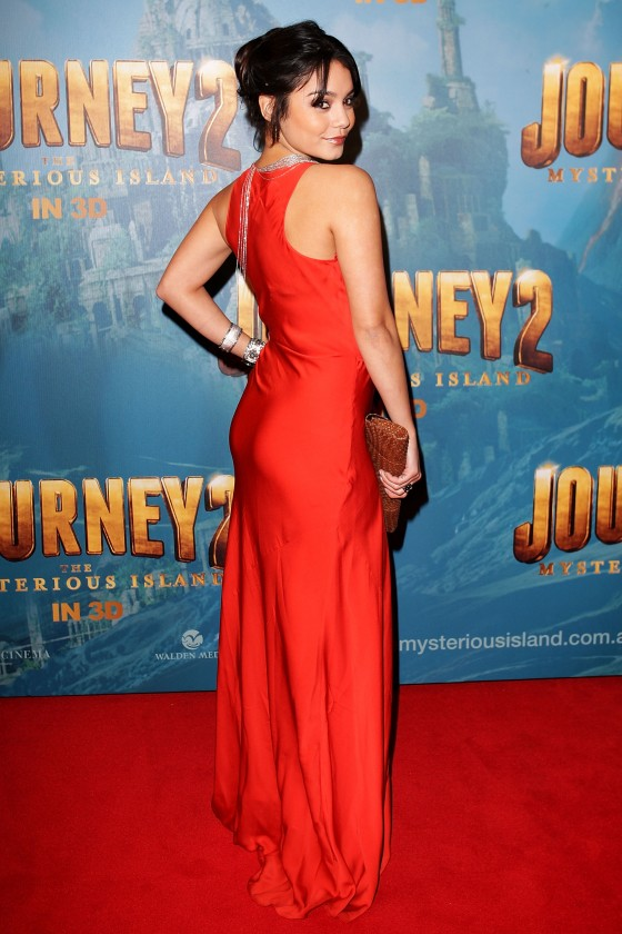 Vanessa Hudgens cleavy in red dress at Journey 2 Mysterious Island Premiere-08