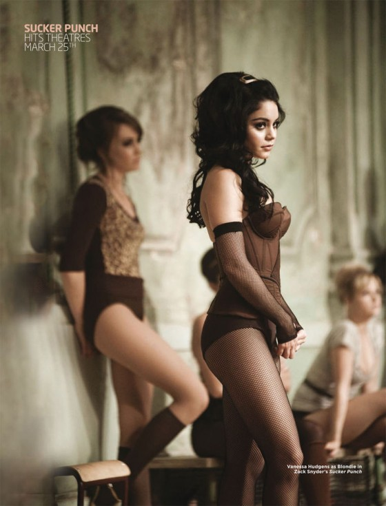 Vanessa Hudgens - Fishnests and Corset at Cinplex Magazine March 2011