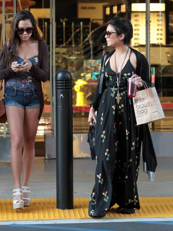 Vanessa Hudgens in Long Dress shopping with her sister, Beverly Hills