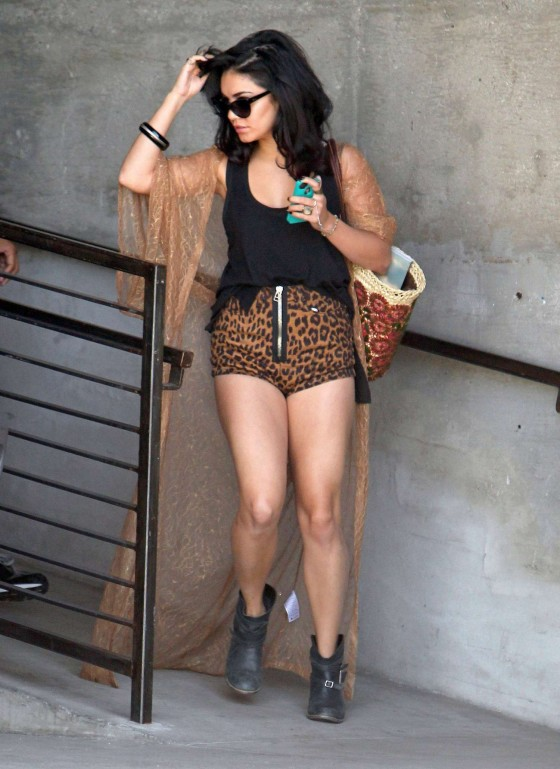 Vanessa Hudgens shows her legs in leopard shorts