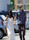 Vanessa Hudgens - with boyfriend- out of church service in Hollywood-02