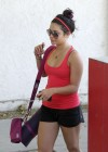 Vanessa Hudgens outside a pilates class in a short shorts