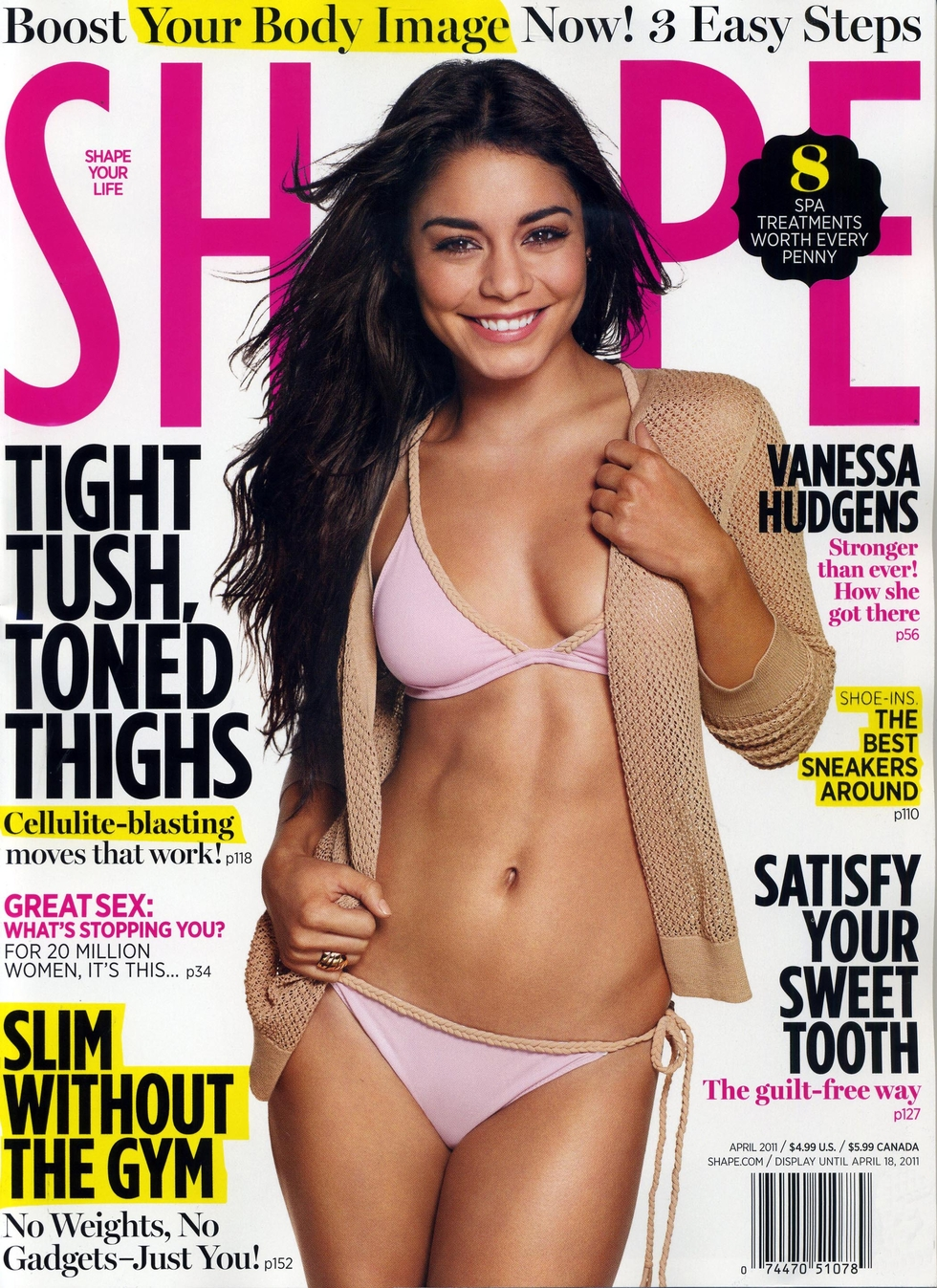 vanessa hudgens shape magazine cover april 2011   full size