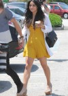 Vanessa Hudgens - Went to Church in a Yellow mini dress in Hollywood
