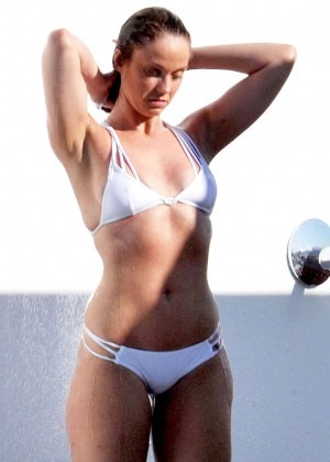 Vicky Pattison in White Bikini at Poolside in Ibiza