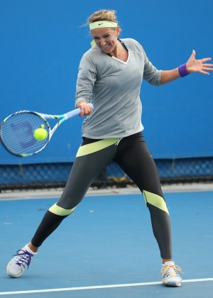 Victoria Azarenka - at a practice session in Melbourne 1/25/13