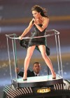 Victoria Beckham shows her legs and body in small tight dress at Summer Olympics Closing Ceremony in London