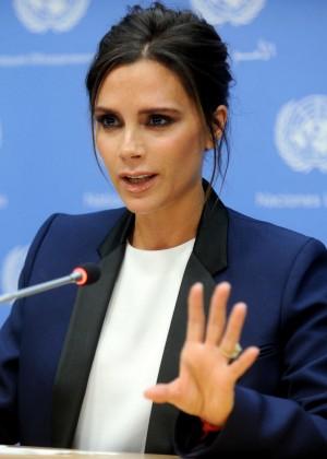 Victoria Beckham - UNAIDS International Goodwill Ambassador New York City