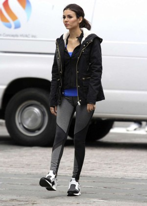Victoria Justice in Leggings on the set for 'Eye Candy' in Brooklyn