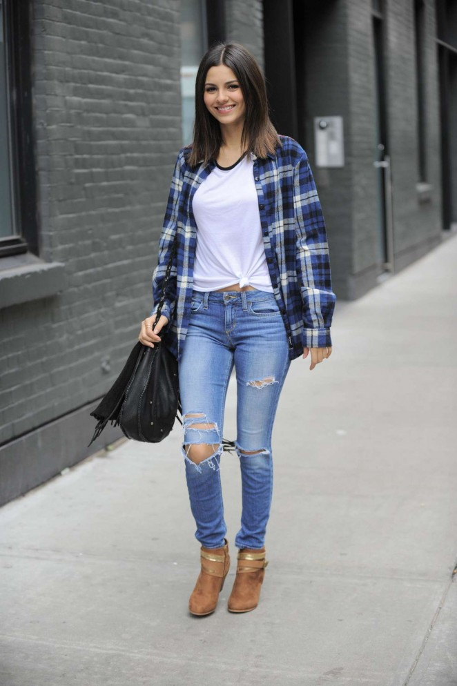 Victoria Justice in Ripped Jeans Out in New York City