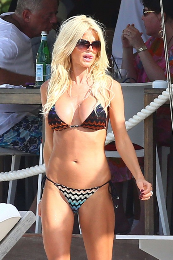 Victoria Silvstedt Wearing Two Pieces Bikini on the beach in St Barts
