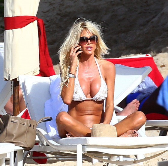 Victoria Silvstedt - wearing a bikini on the beach in St. Barts 2013