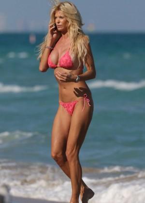 Victoria Silvstedt in Pink Bikini on Miami Beach